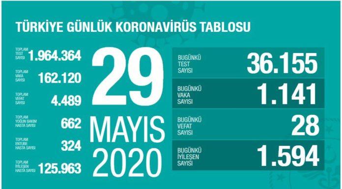 korona turkiye tablosu 29 mayis